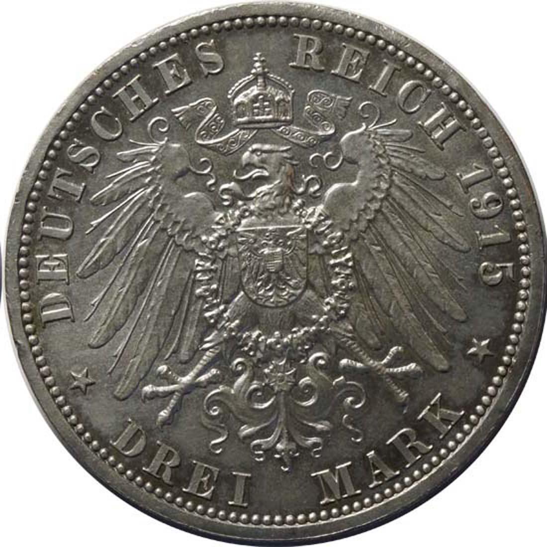Rückseite:Deutschland : 3 Mark Ernst August und Viktoria  1915 vz.