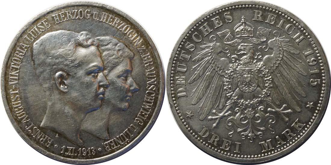 Übersicht:Deutschland : 3 Mark Ernst August und Viktoria  1915 vz.