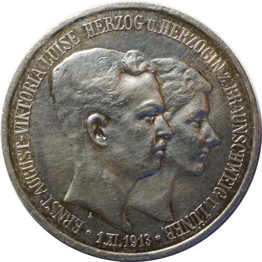 Vorderseite:Deutschland : 3 Mark Ernst August und Viktoria  1915 vz.