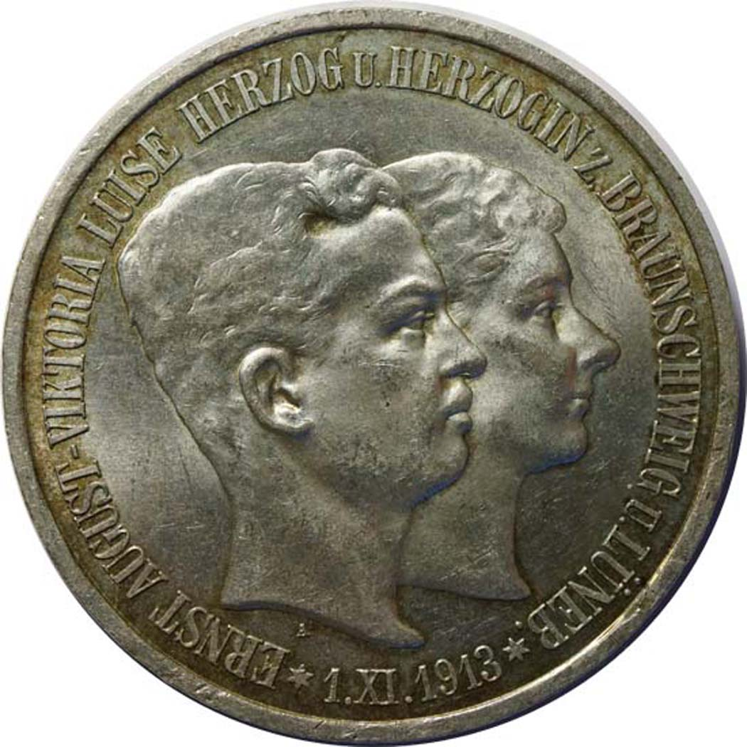 Vorderseite:Deutschland : 5 Mark Ernst August und Viktoria patina 1915 vz/Stgl.