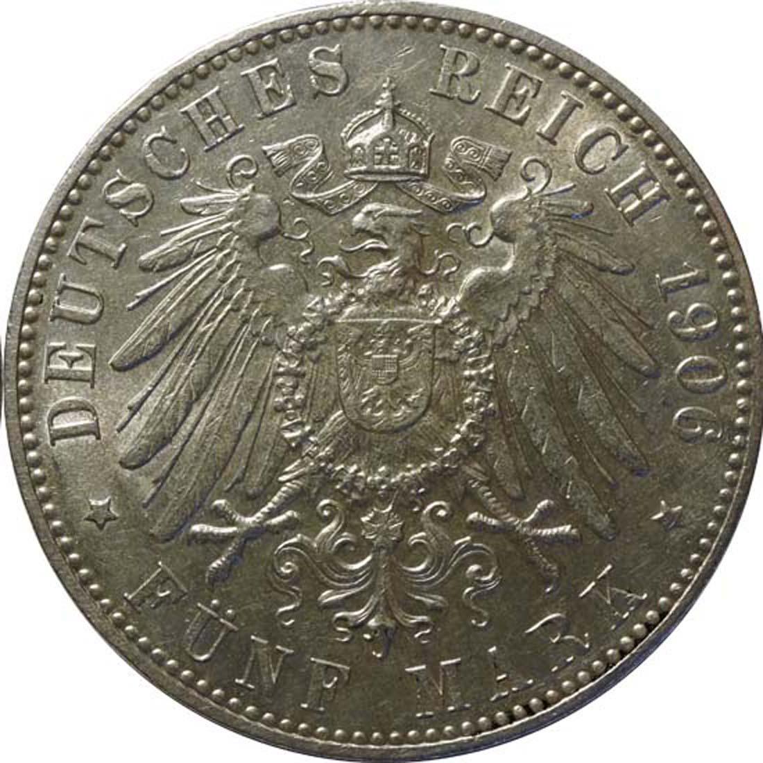 Rückseite:Deutschland : 5 Mark Stadtwappen  1906 Stgl.