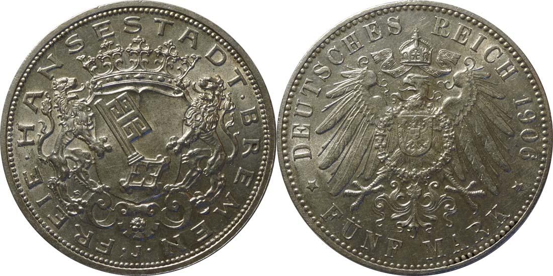 Übersicht:Deutschland : 5 Mark Stadtwappen  1906 Stgl.