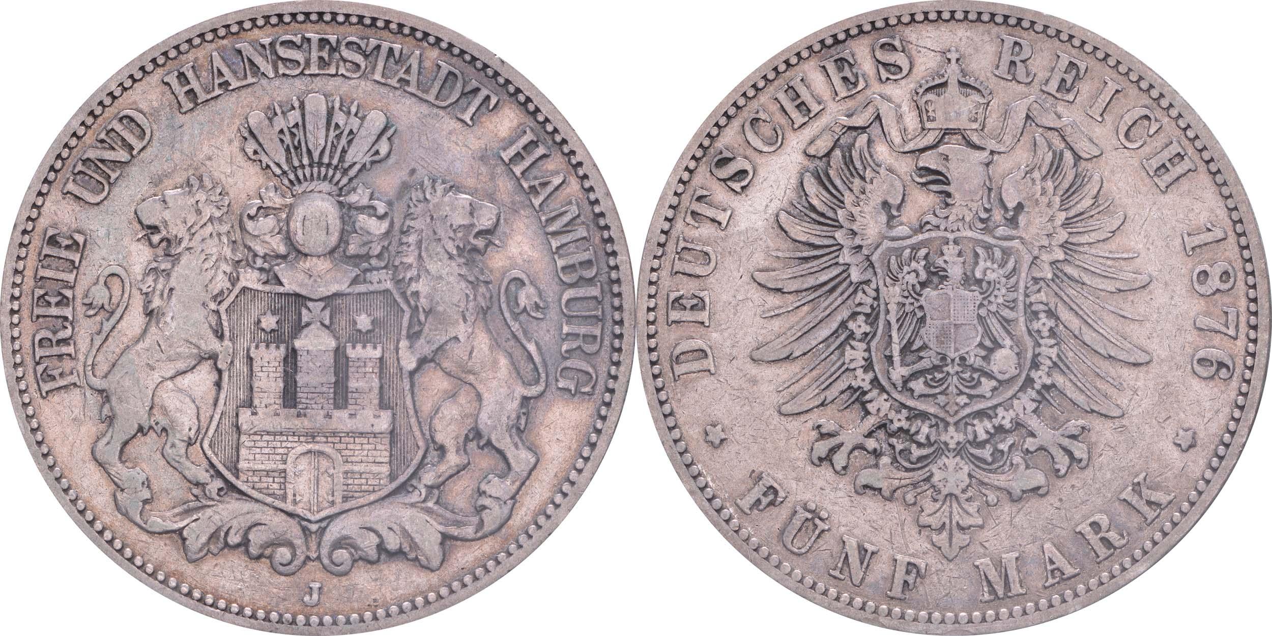Übersicht:Deutschland : 5 Mark Stadtwappen  1876 s/ss.