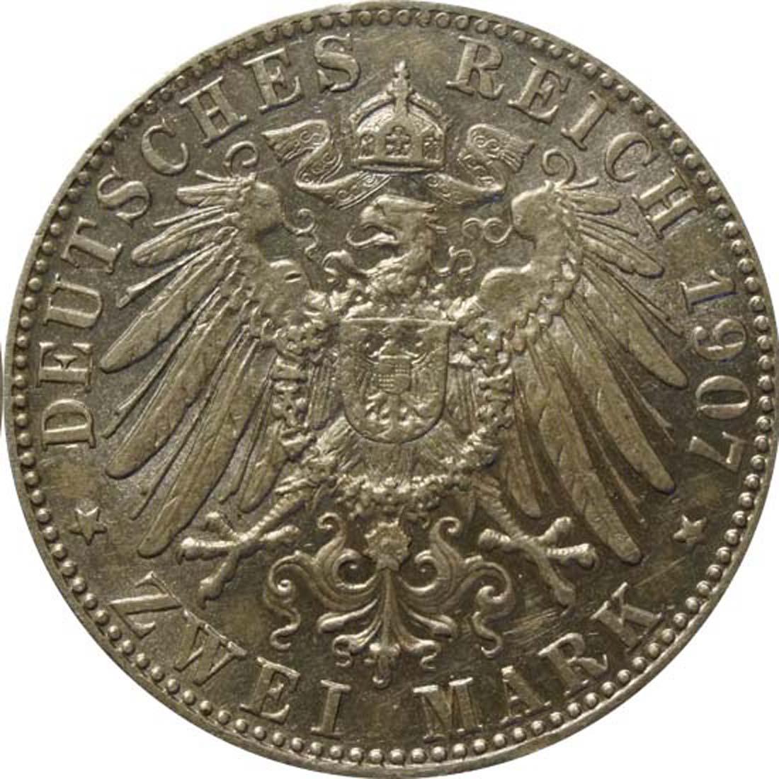Rückseite:Deutschland : 2 Mark Otto  1907 ss.