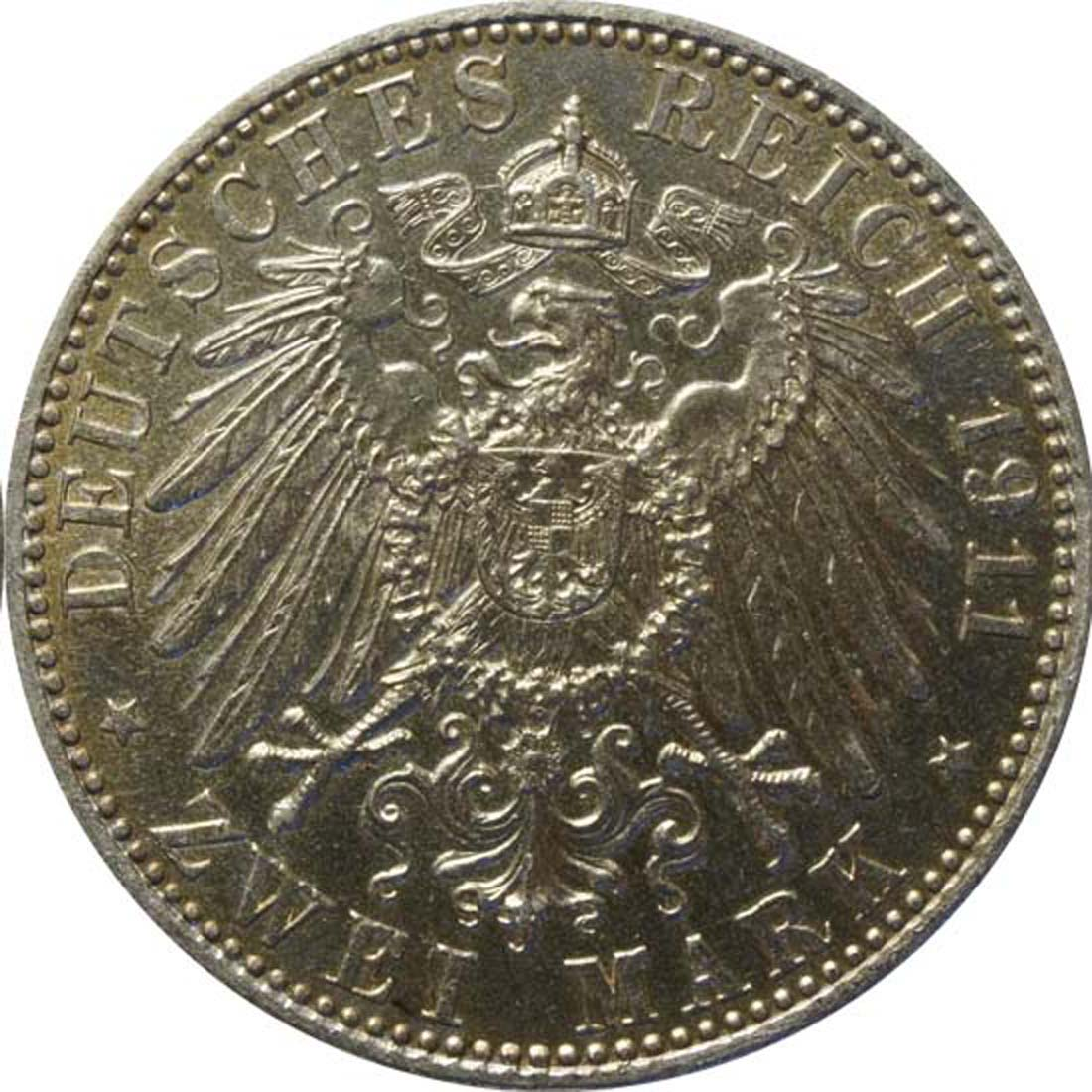 Rückseite :Deutschland : 2 Mark Luitpold  1911 vz.
