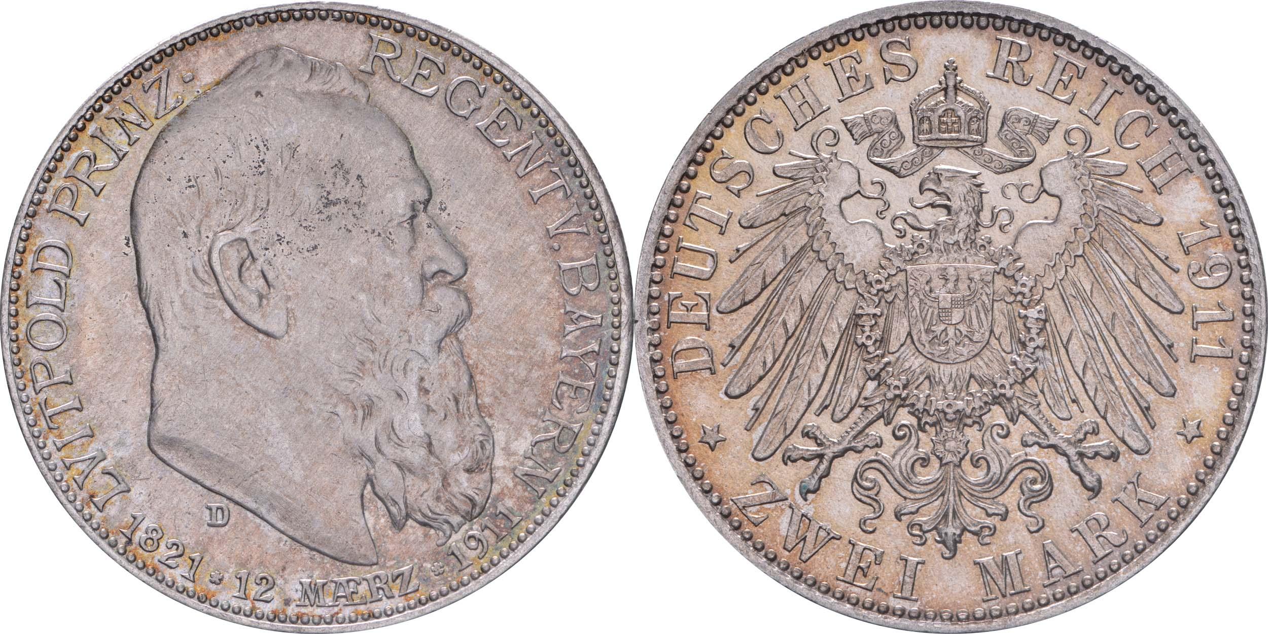 Deutschland : 2 Mark Luitpold  1911 vz.