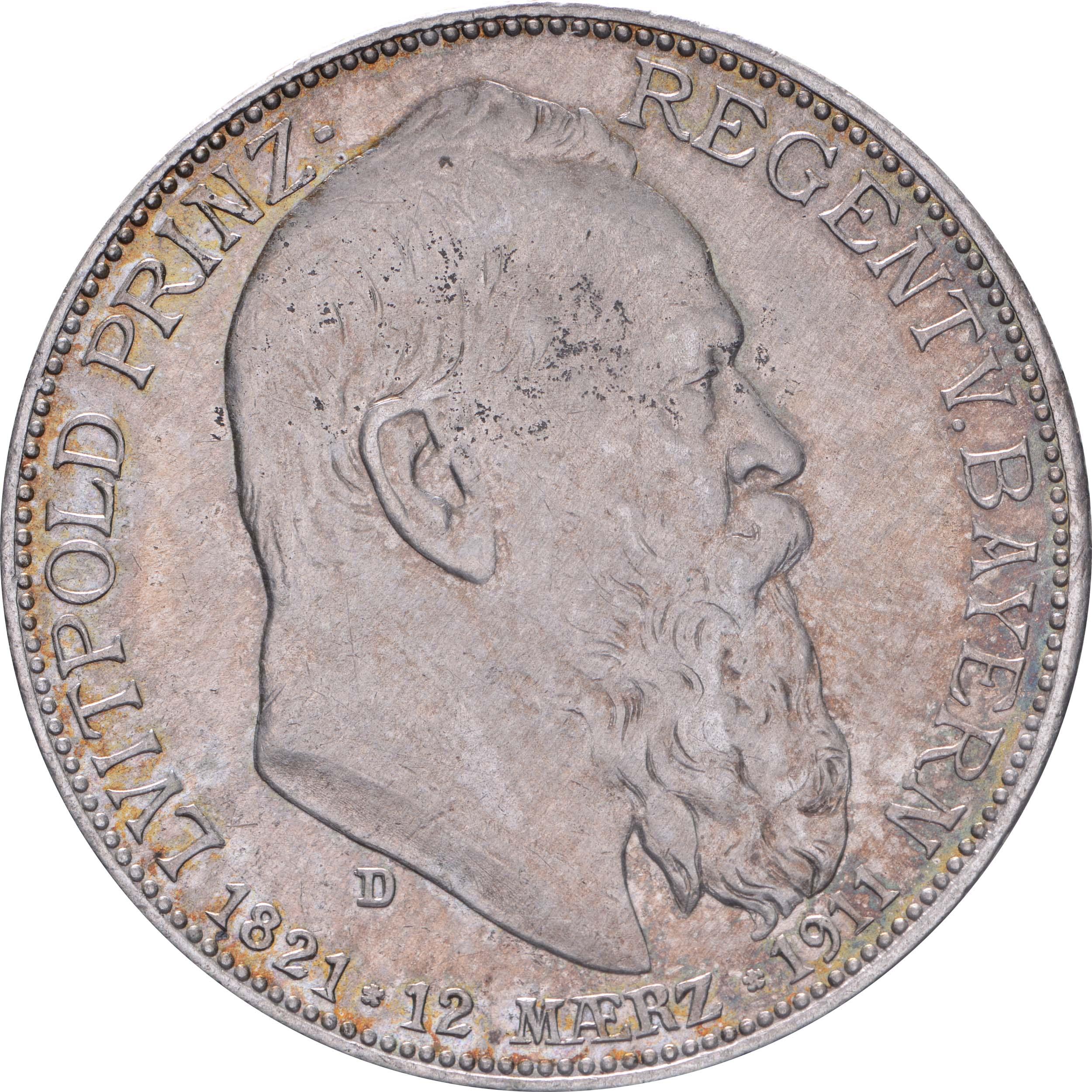 Vorderseite:Deutschland : 2 Mark Luitpold  1911 vz.