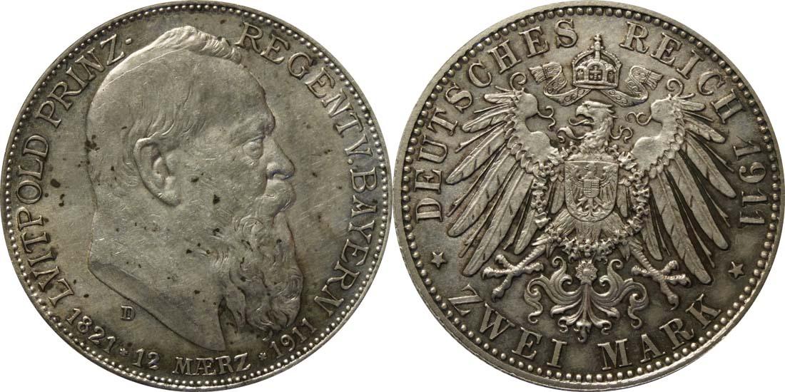 Übersicht:Deutschland : 2 Mark Luitpold patina 1911 vz/Stgl.