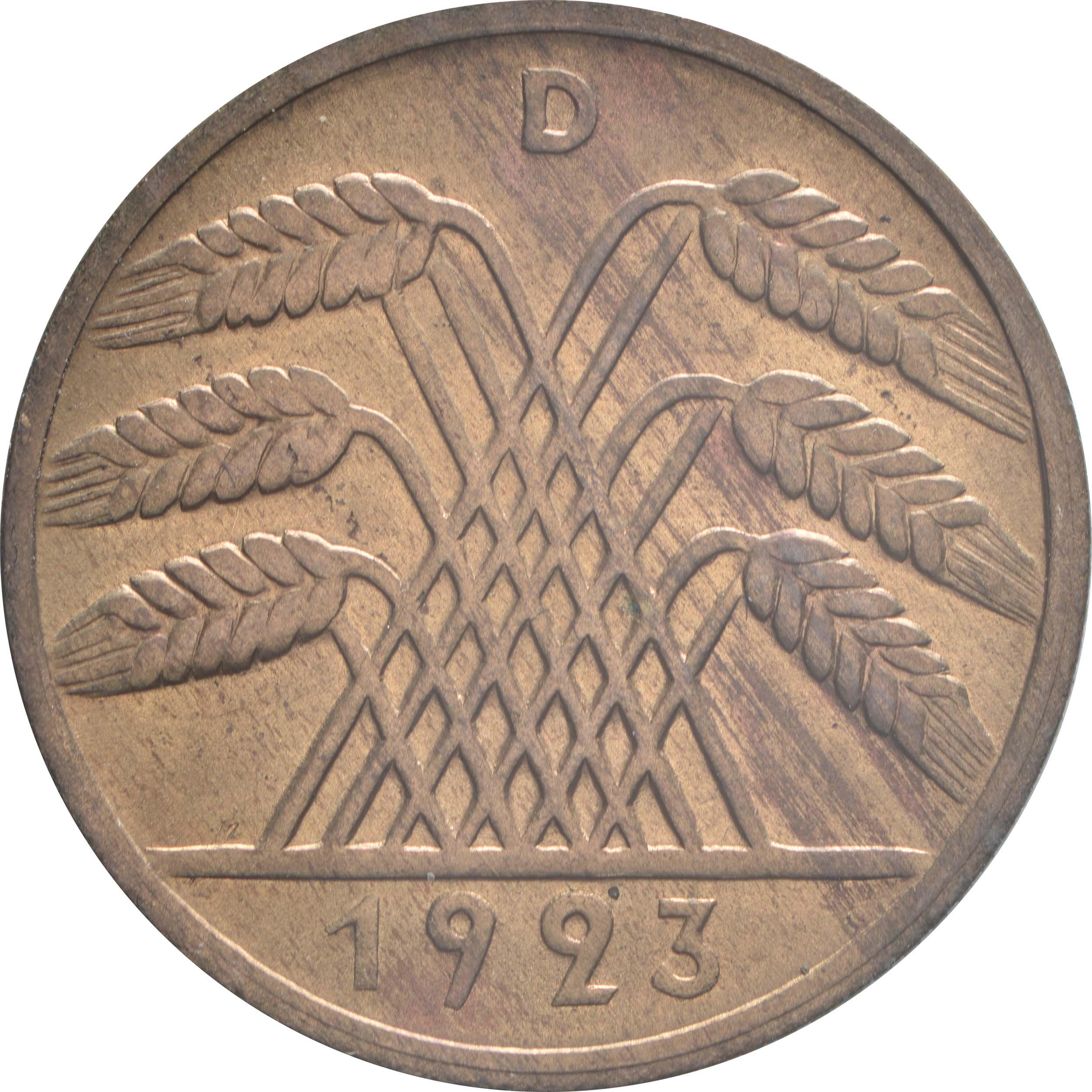 Rückseite :Deutschland : 10 Rentenpfennig Kursmünze patina 1923 Stgl.