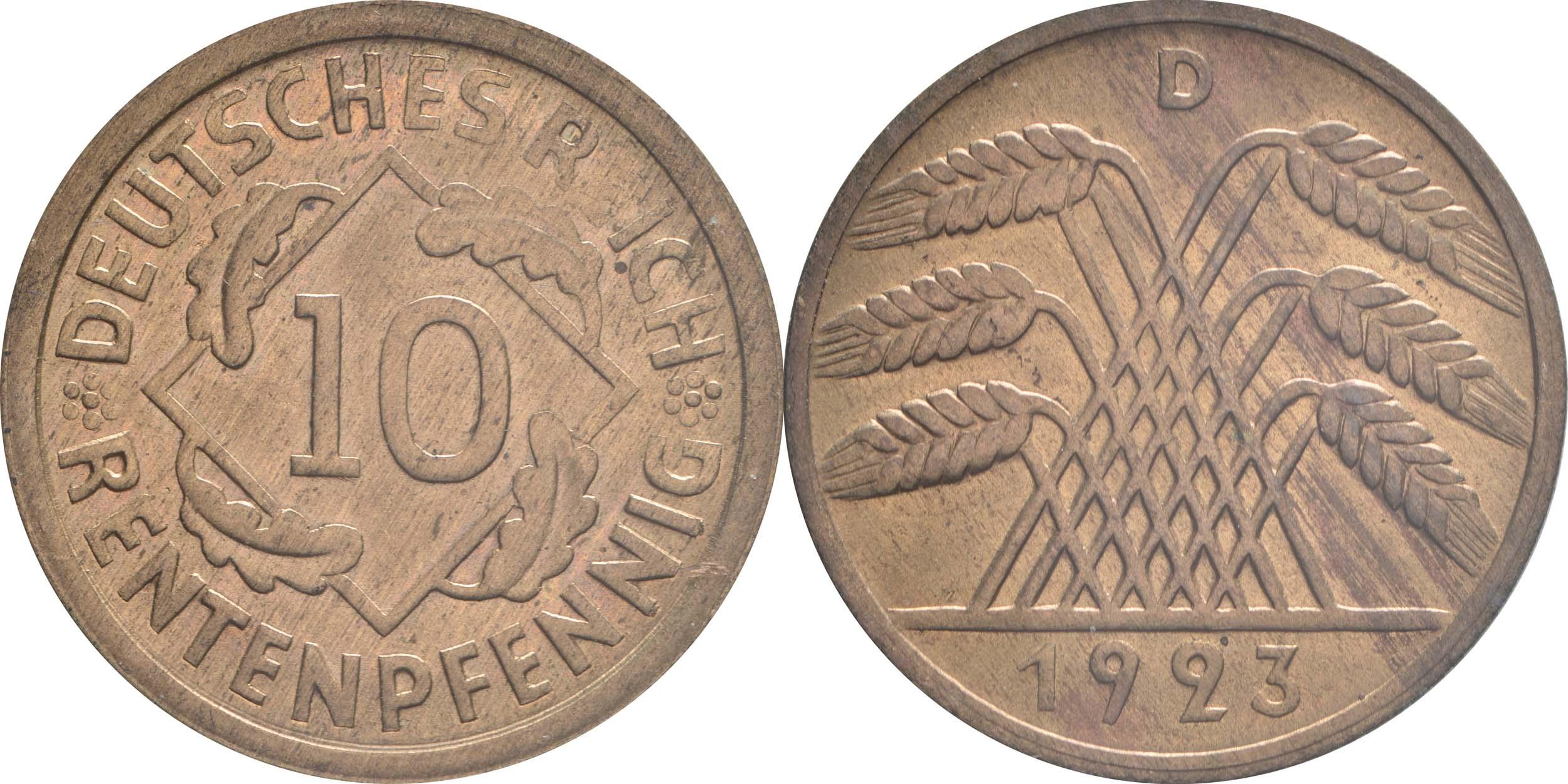 Deutschland : 10 Rentenpfennig Kursmünze patina 1923 Stgl.