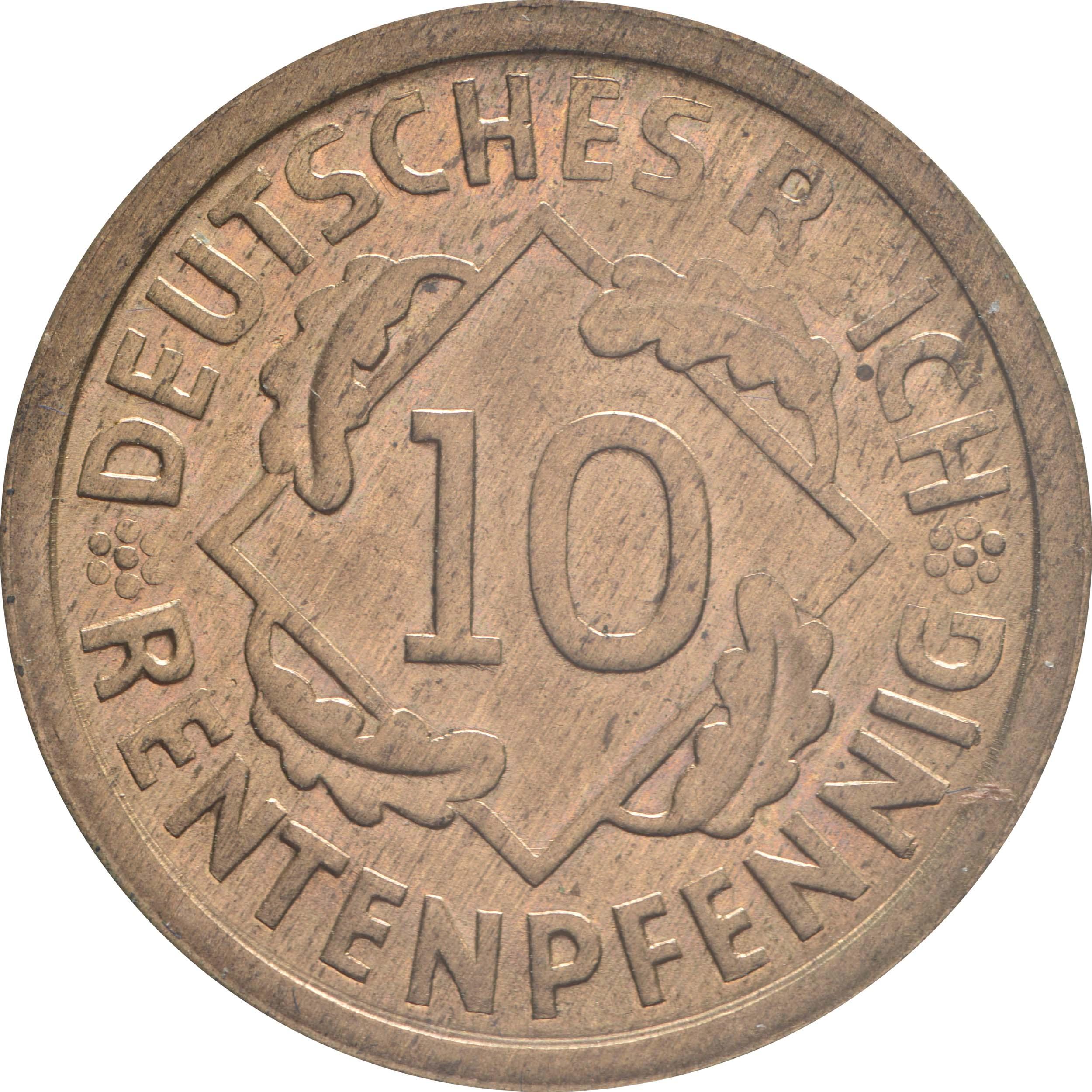 Vorderseite :Deutschland : 10 Rentenpfennig Kursmünze patina 1923 Stgl.