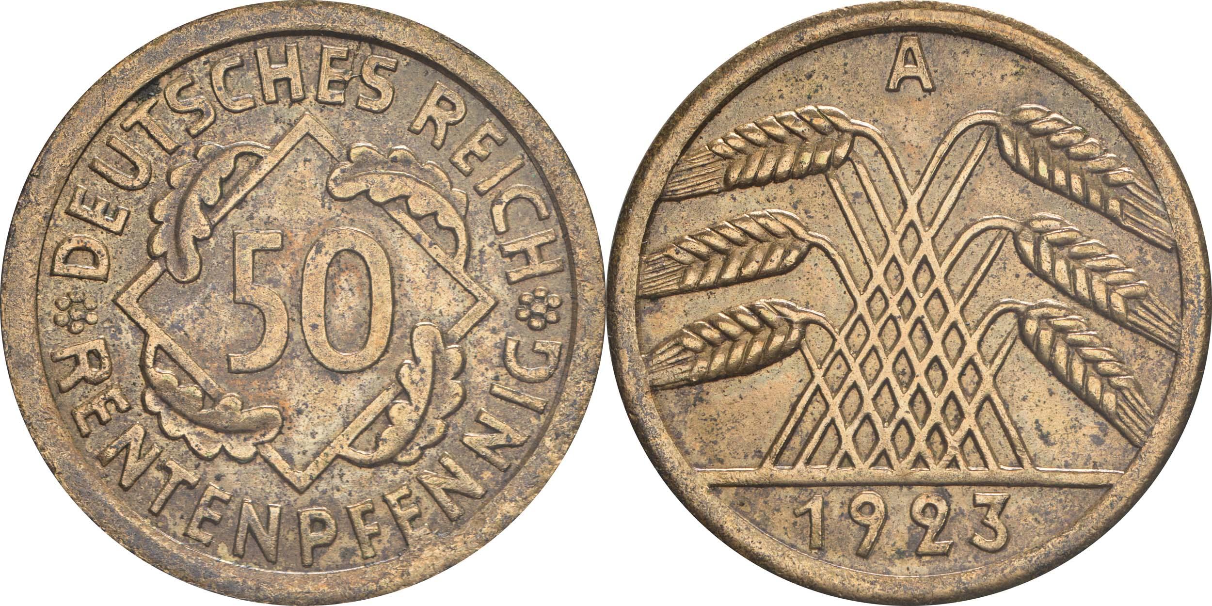 Deutschland : 50 Rentenpfennig Kursmünze  1923 ss/vz.