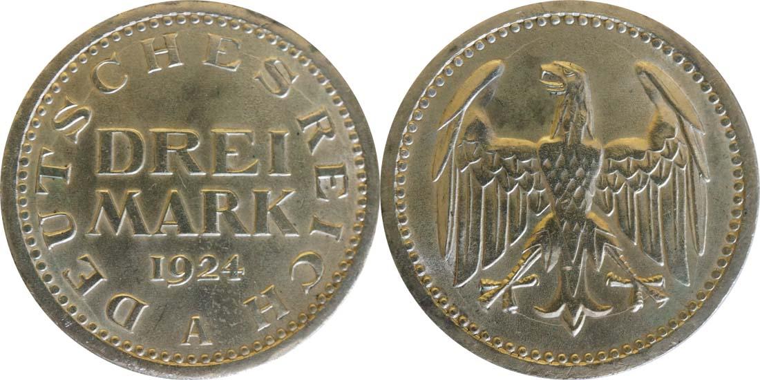 Lieferumfang:Deutschland : 3 Reichsmark Kursmünze  1924 vz.