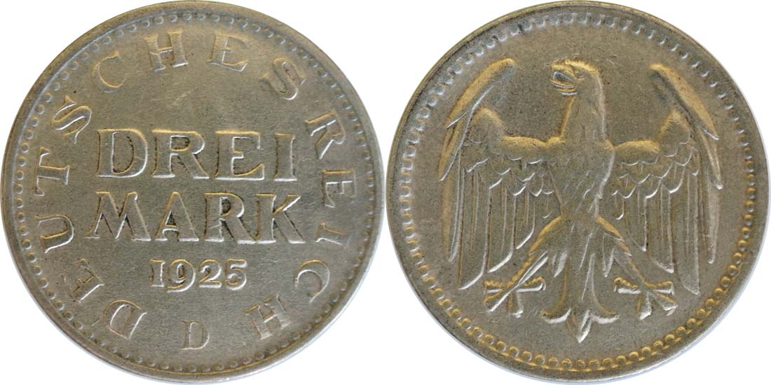 Deutschland : 3 Reichsmark Kursmünze  1925 vz.