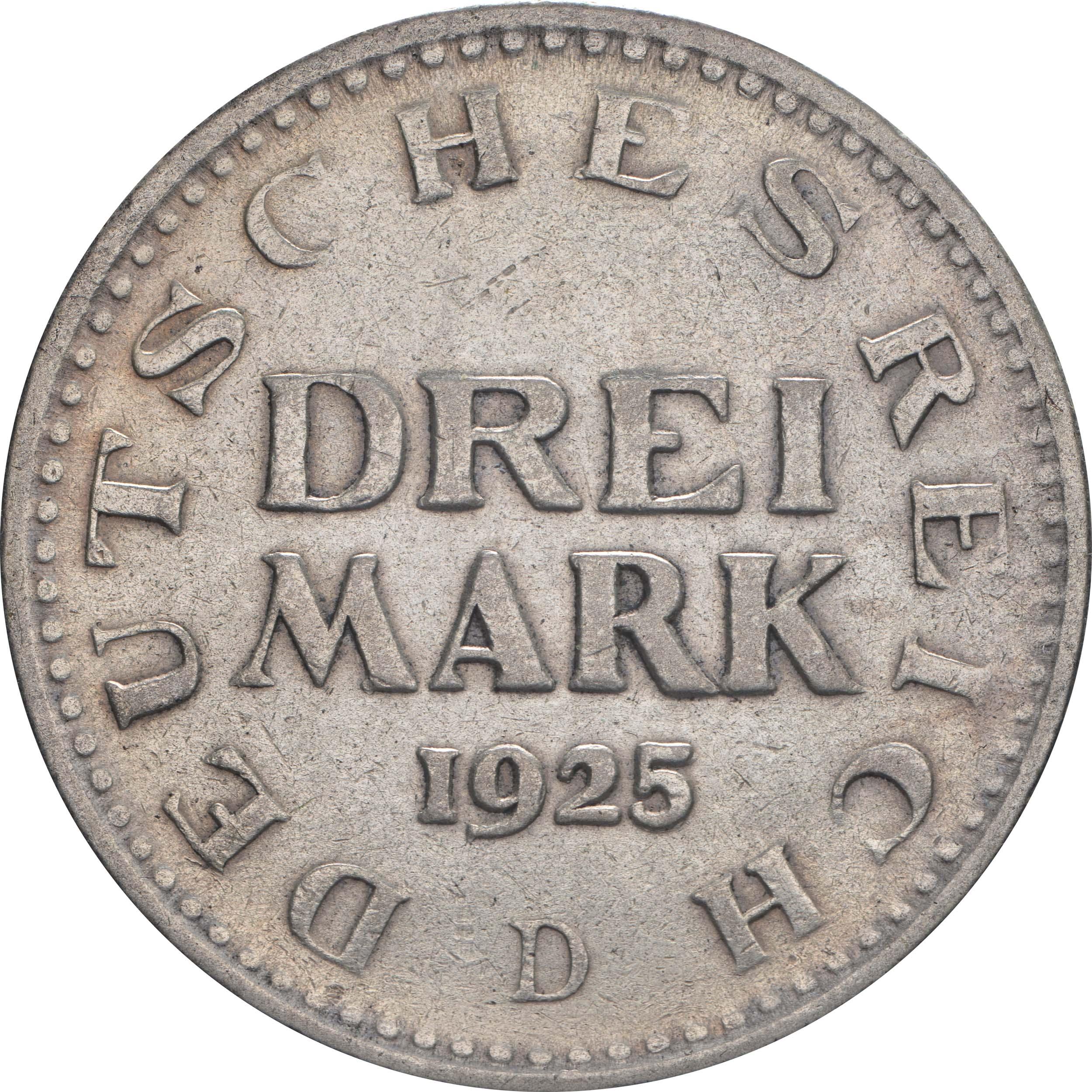 Vorderseite:Deutschland : 3 Reichsmark Kursmünze  1925 vz.