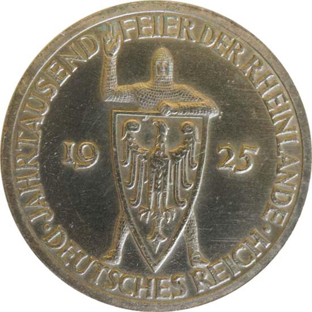 Vorderseite :Deutschland : 3 Reichsmark Rheinlande  1925 ss.