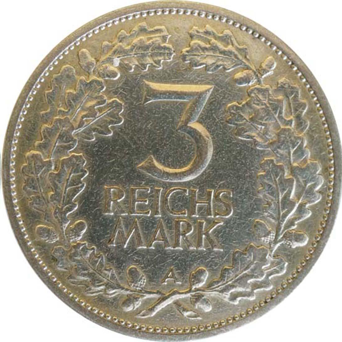 Rückseite :Deutschland : 3 Reichsmark Rheinlande  1925 ss.