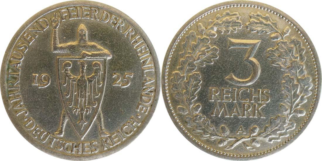 Deutschland : 3 Reichsmark Rheinlande  1925 ss.