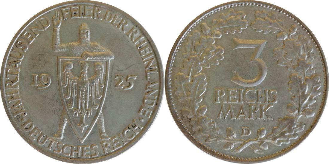 Deutschland : 3 Reichsmark Rheinlande  1925 vz.