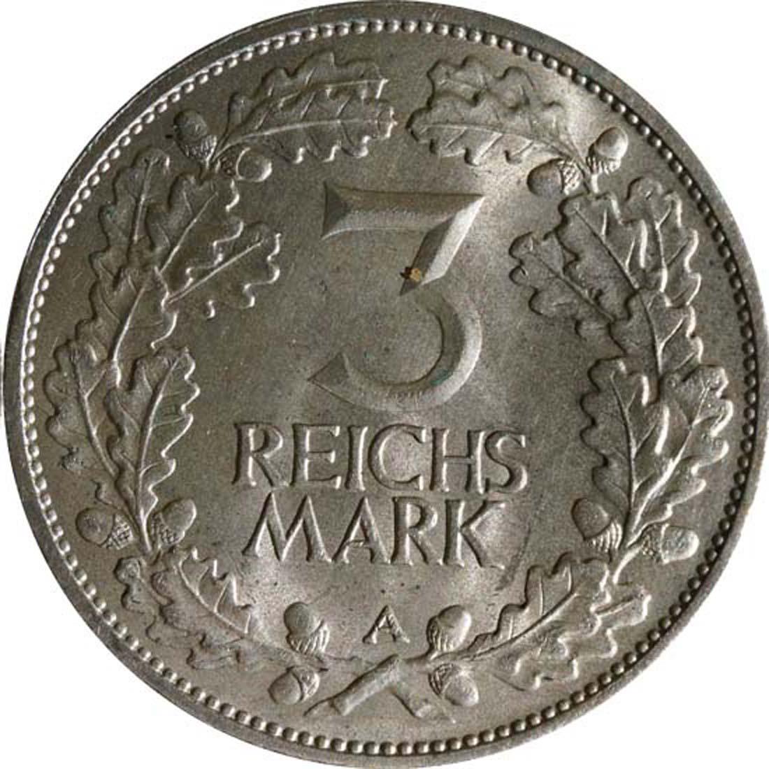 Rückseite:Deutschland : 3 Reichsmark Rheinlande  1925 vz/Stgl.