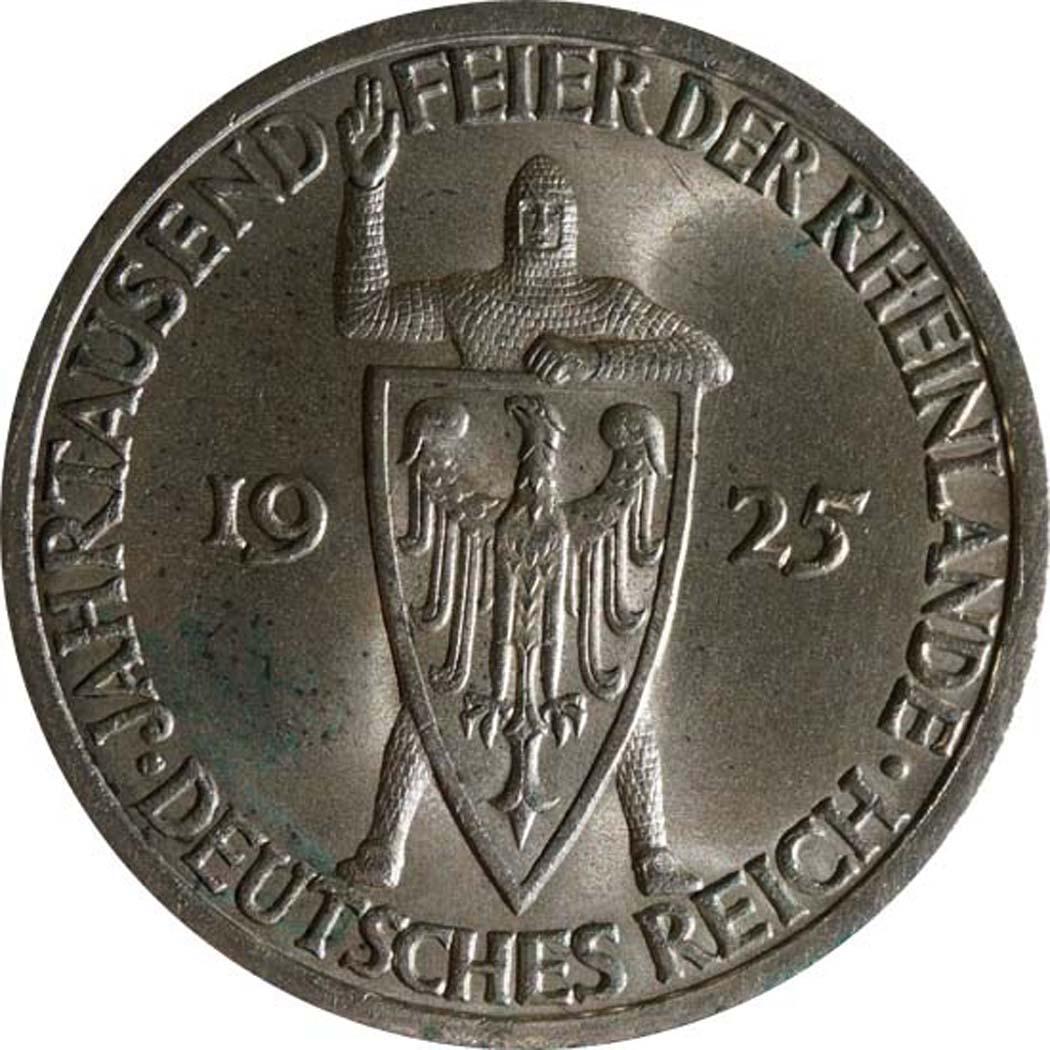 Vorderseite:Deutschland : 3 Reichsmark Rheinlande  1925 vz/Stgl.