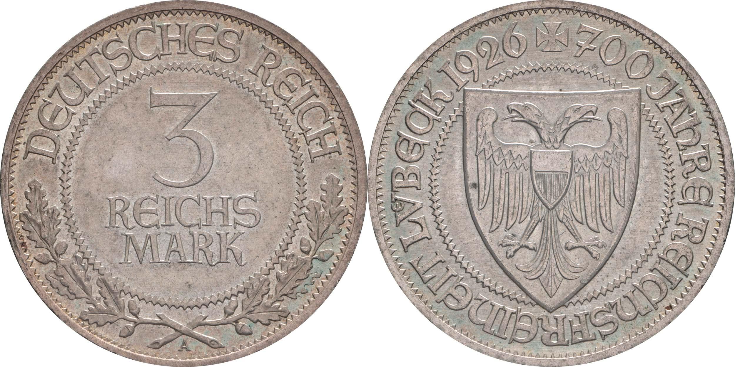 Übersicht:Deutschland : 3 Reichsmark Lübeck patina 1926 vz.