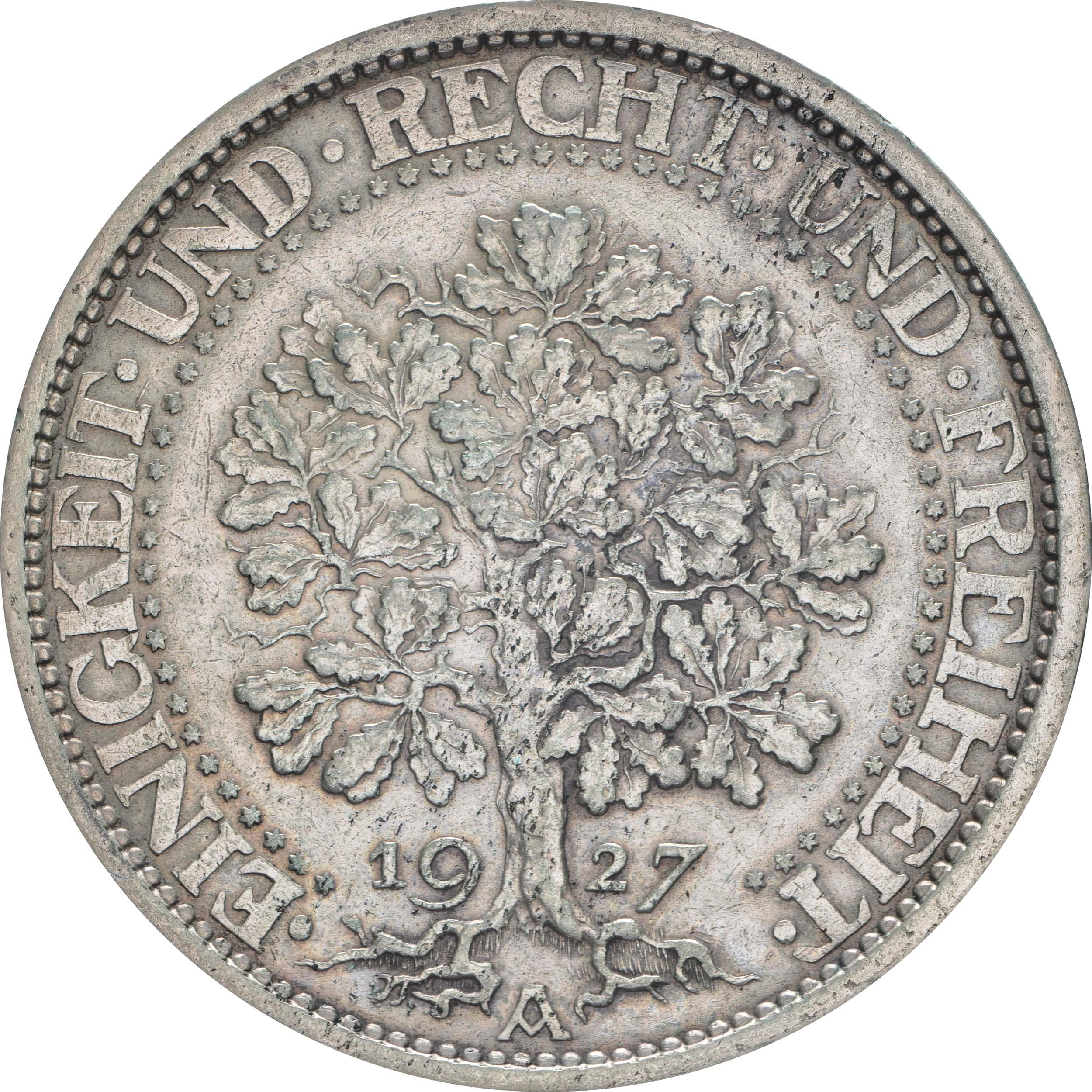 deutschland 5 reichsmark eichbaum patina 1927 a silber vz euro. Black Bedroom Furniture Sets. Home Design Ideas