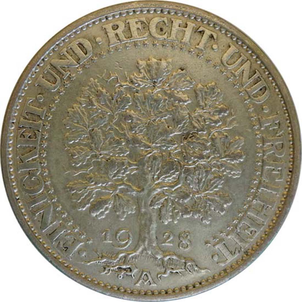 deutschland 5 reichsmark eichbaum patina 1928 a silber vz euro. Black Bedroom Furniture Sets. Home Design Ideas