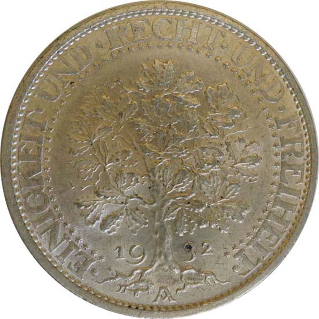 deutschland 5 reichsmark eichbaum 1932 a silber vz stgl 170 euro. Black Bedroom Furniture Sets. Home Design Ideas