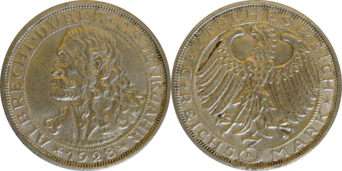 Lieferumfang:Deutschland : 3 Reichsmark Dürer winz. Rs. 1928 vz.