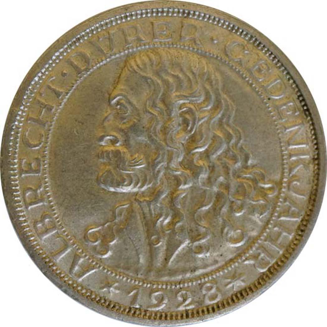 Vorderseite:Deutschland : 3 Reichsmark Dürer winz. Rs. 1928 vz.