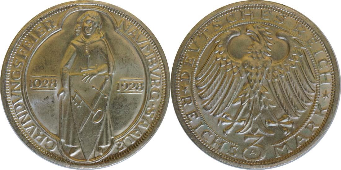 Lieferumfang:Deutschland : 3 ReichsmarkReichsmark Naumburg  1928 vz/Stgl.