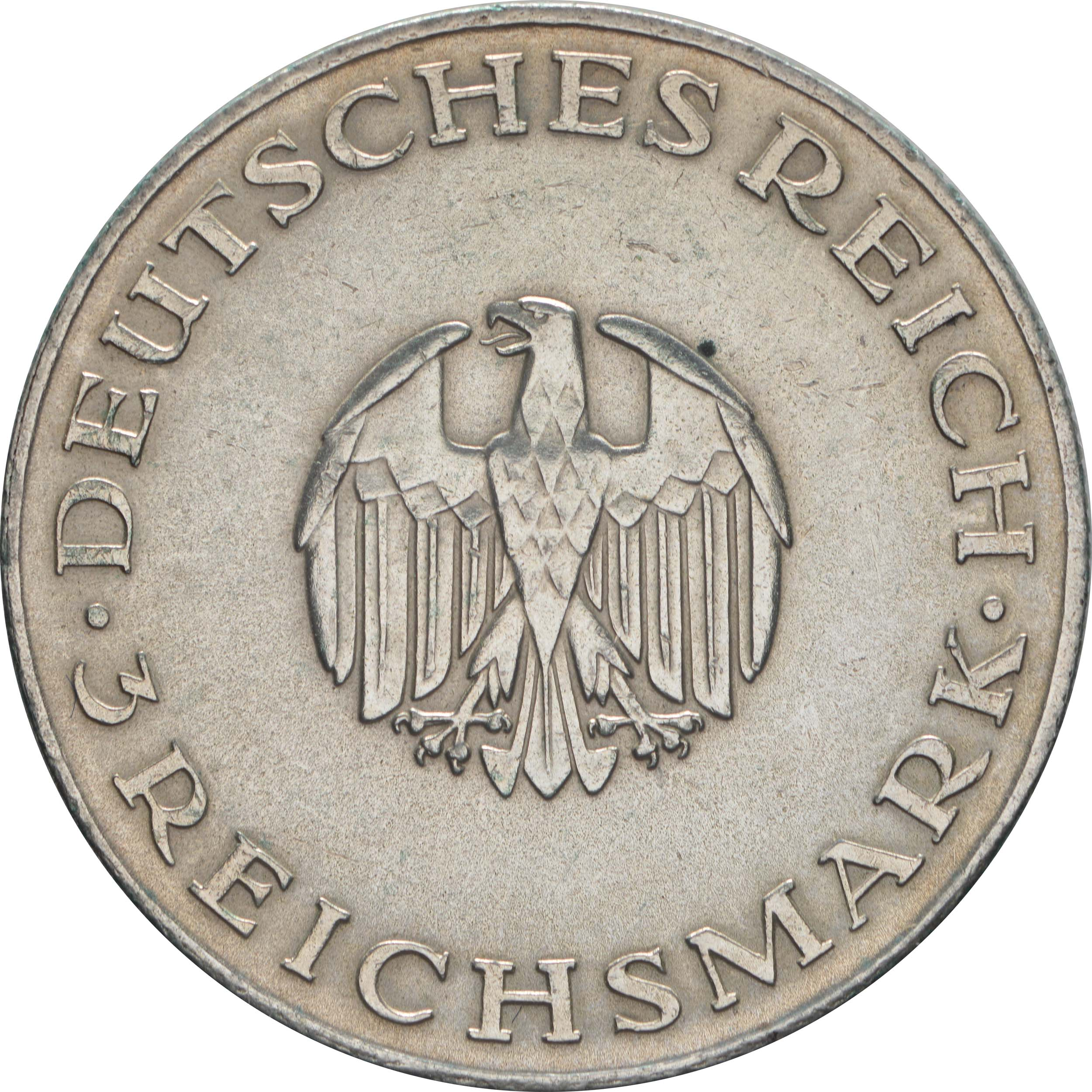 deutschland 3 reichsmark lessing 1929 a silber vz euro. Black Bedroom Furniture Sets. Home Design Ideas