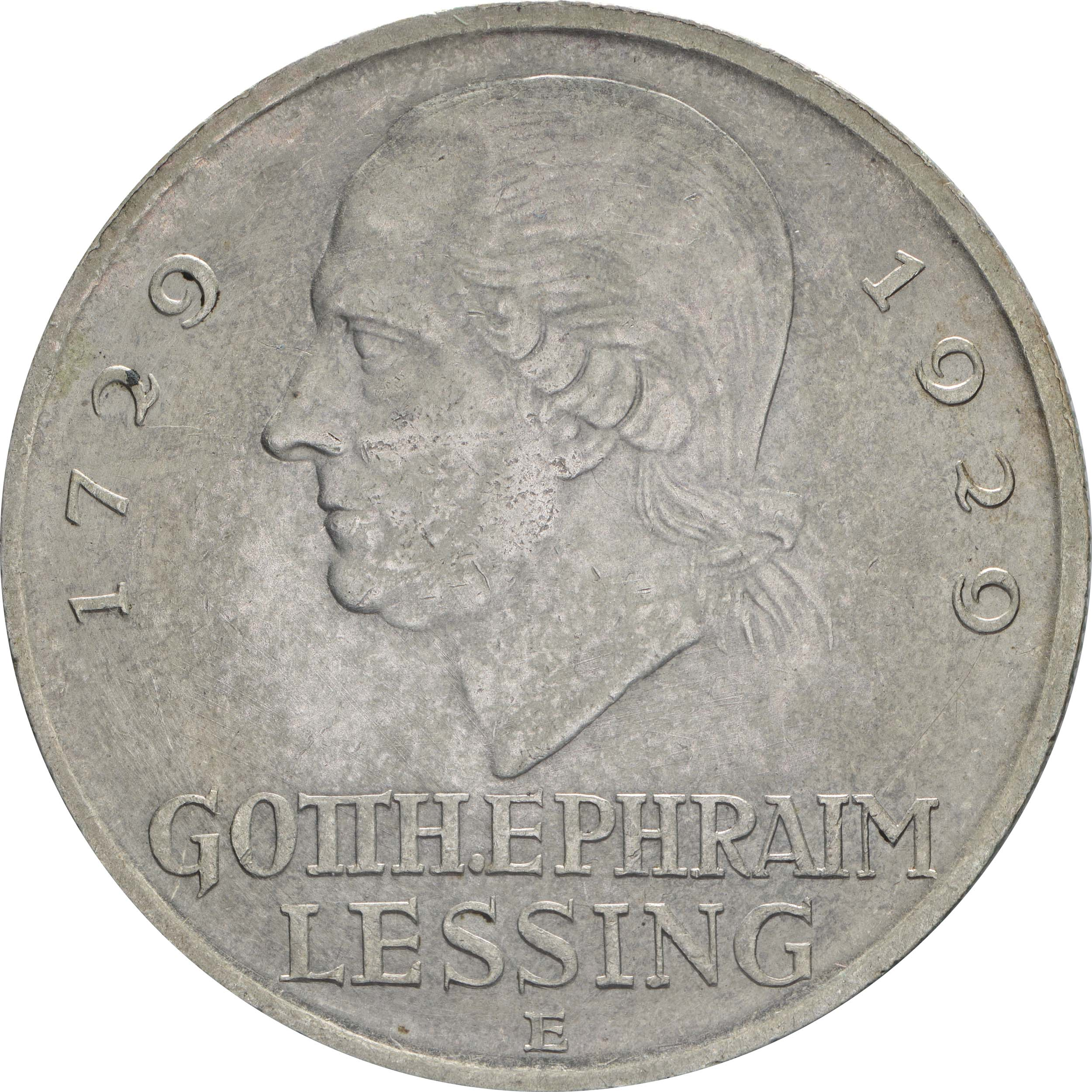 deutschland 5 reichsmark lessing 1929 e silber vz stgl 229 5 euro. Black Bedroom Furniture Sets. Home Design Ideas
