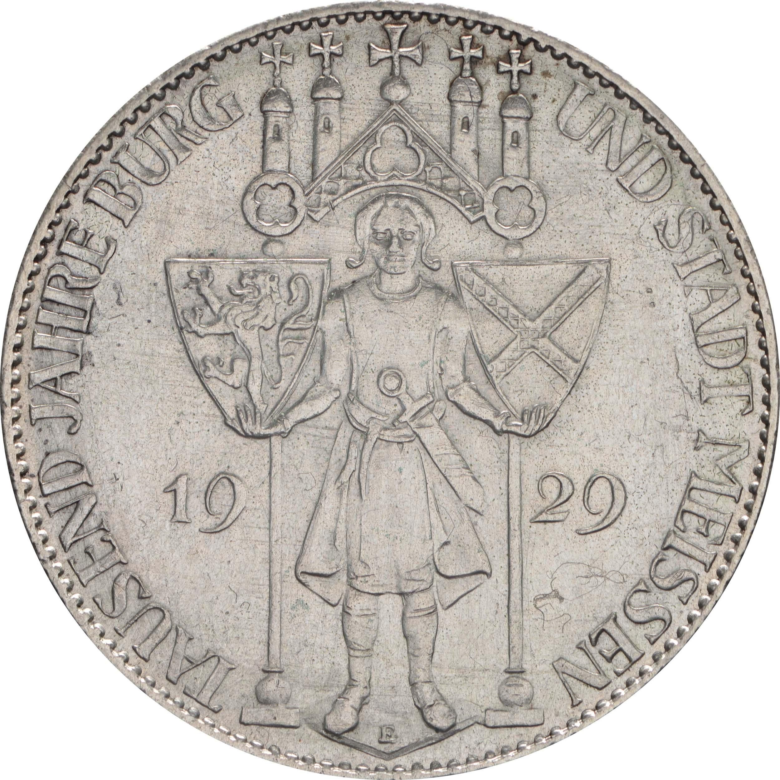 deutschland 5 reichsmark meissen 1929 silber vz stgl euro. Black Bedroom Furniture Sets. Home Design Ideas
