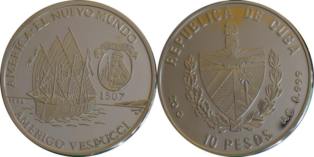 Kuba : 10 Pesos Dauphine - Vespucci  1996 PP