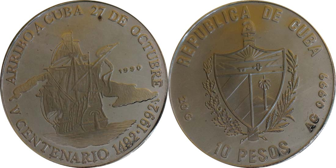 Kuba : 10 Pesos Santa Maria  1990 PP