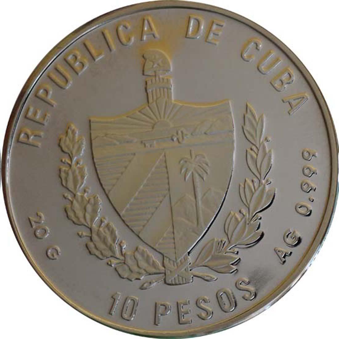 Rückseite :Kuba : 10 Pesos Discovery of America  1989 PP