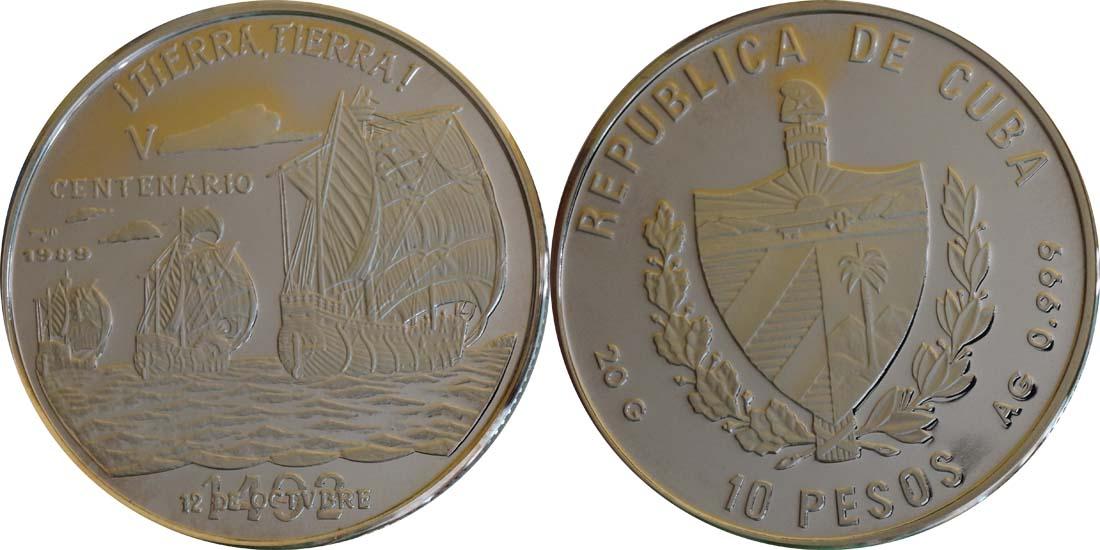 Kuba : 10 Pesos Discovery of America  1989 PP