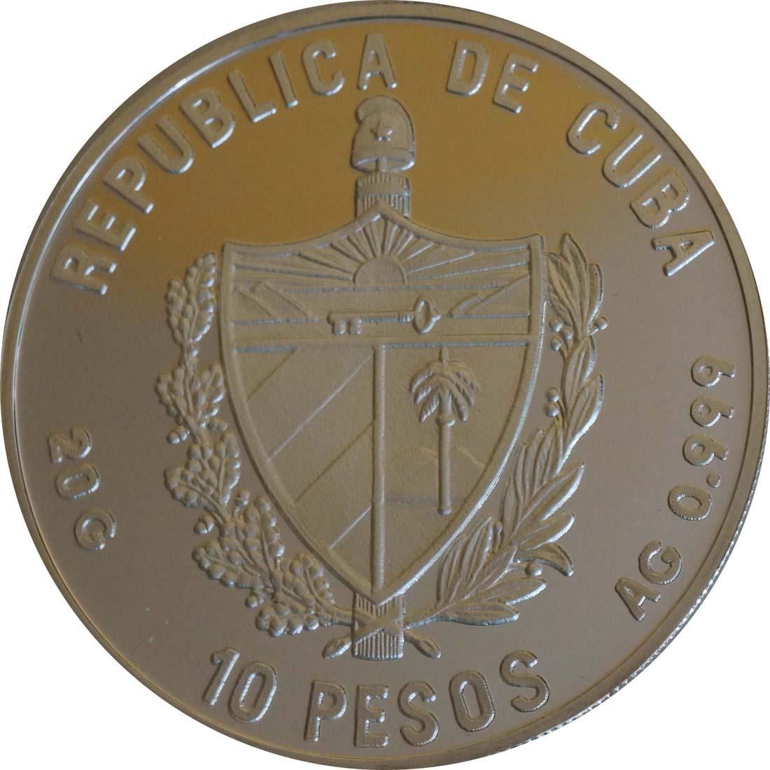Rückseite:Kuba : 10 Pesos Segelschiff  1992 PP