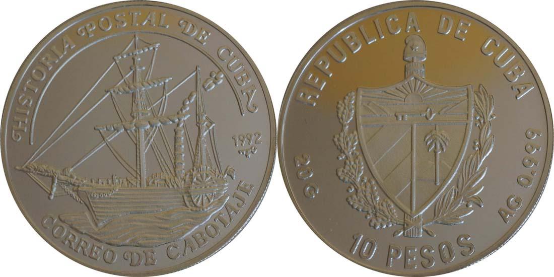 Kuba : 10 Pesos Segelschiff  1992 PP