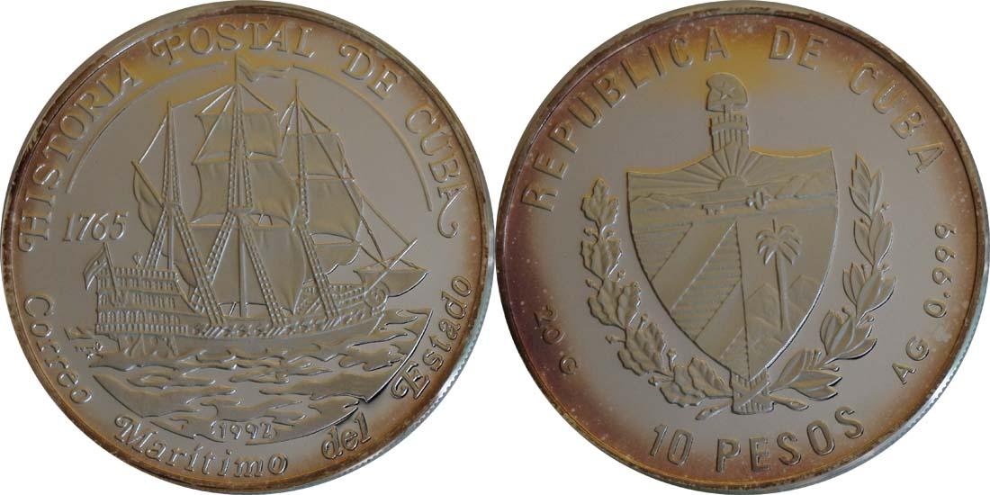 Übersicht:Kuba : 10 Pesos Segelschiff  1992 PP
