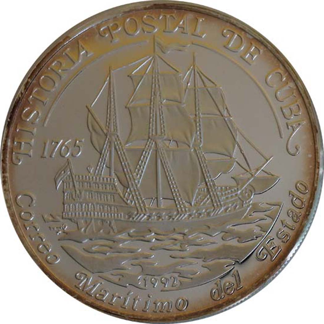Vorderseite:Kuba : 10 Pesos Segelschiff  1992 PP