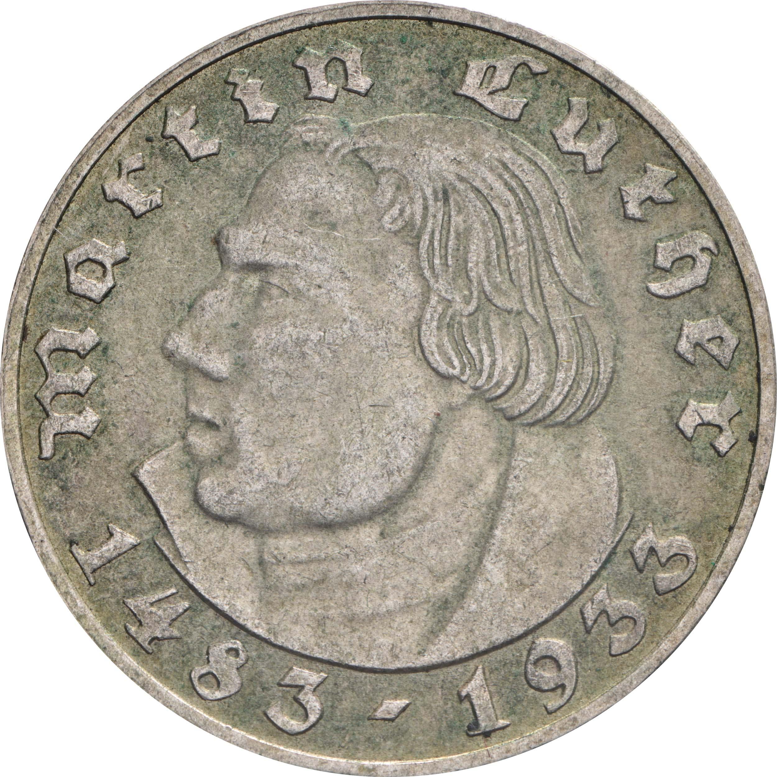 Vorderseite:Deutschland : 2 Reichsmark Luther patina 1933 ss/vz.