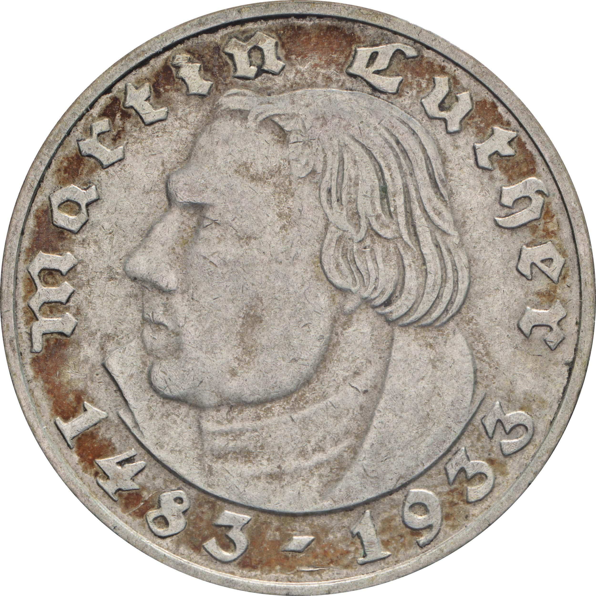 Vorderseite:Deutschland : 2 Reichsmark Luther patina 1933 vz.