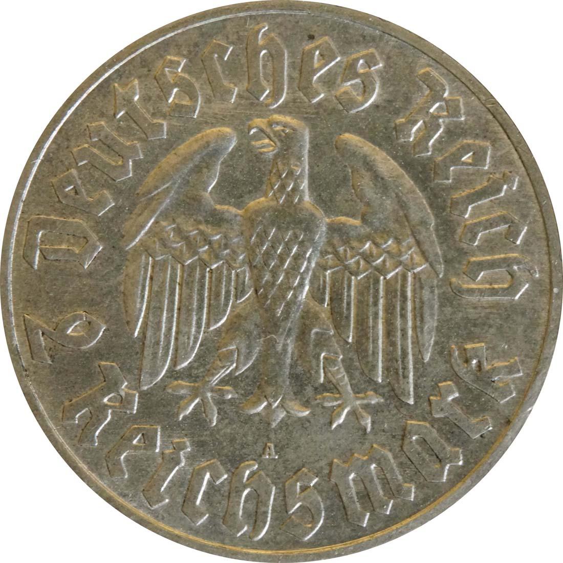 Rückseite :Deutschland : 2 Reichsmark Luther  1933 vz.