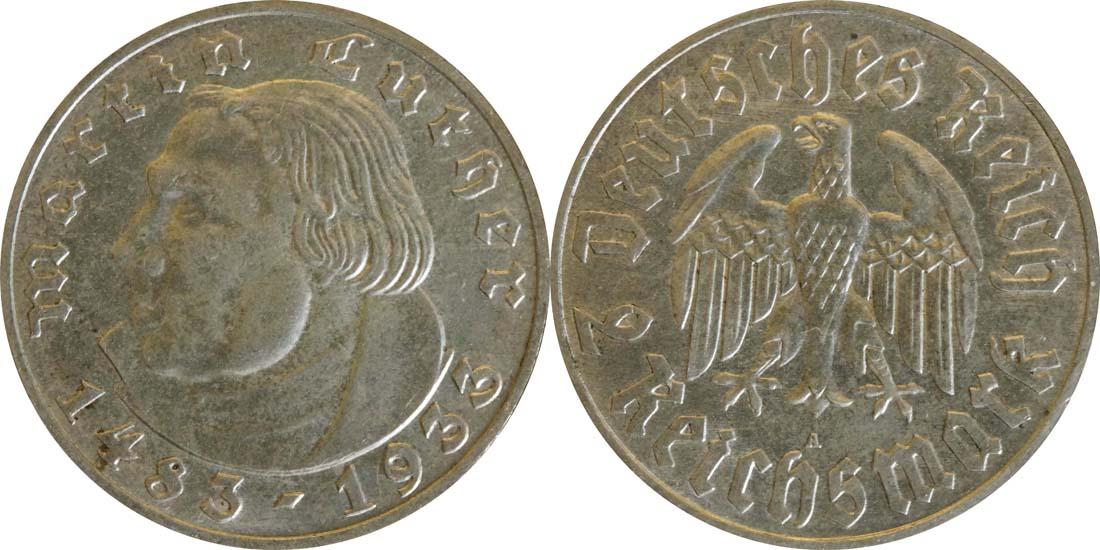 Deutschland : 2 Reichsmark Luther  1933 vz.