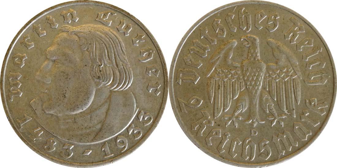 Deutschland : 2 Reichsmark Luther  1933 ss/vz.