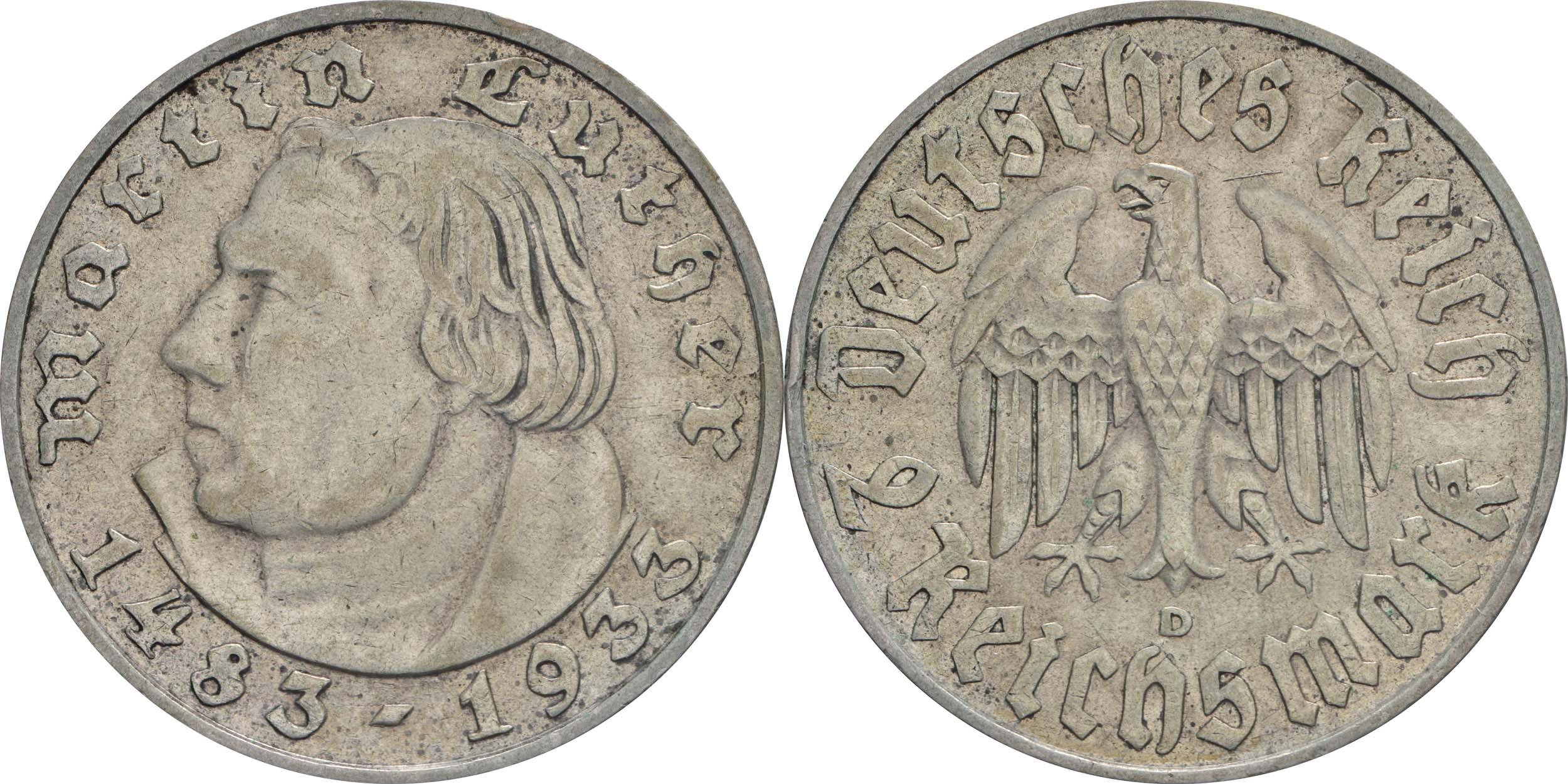 Übersicht:Deutschland : 2 Reichsmark Luther  1933 ss/vz.