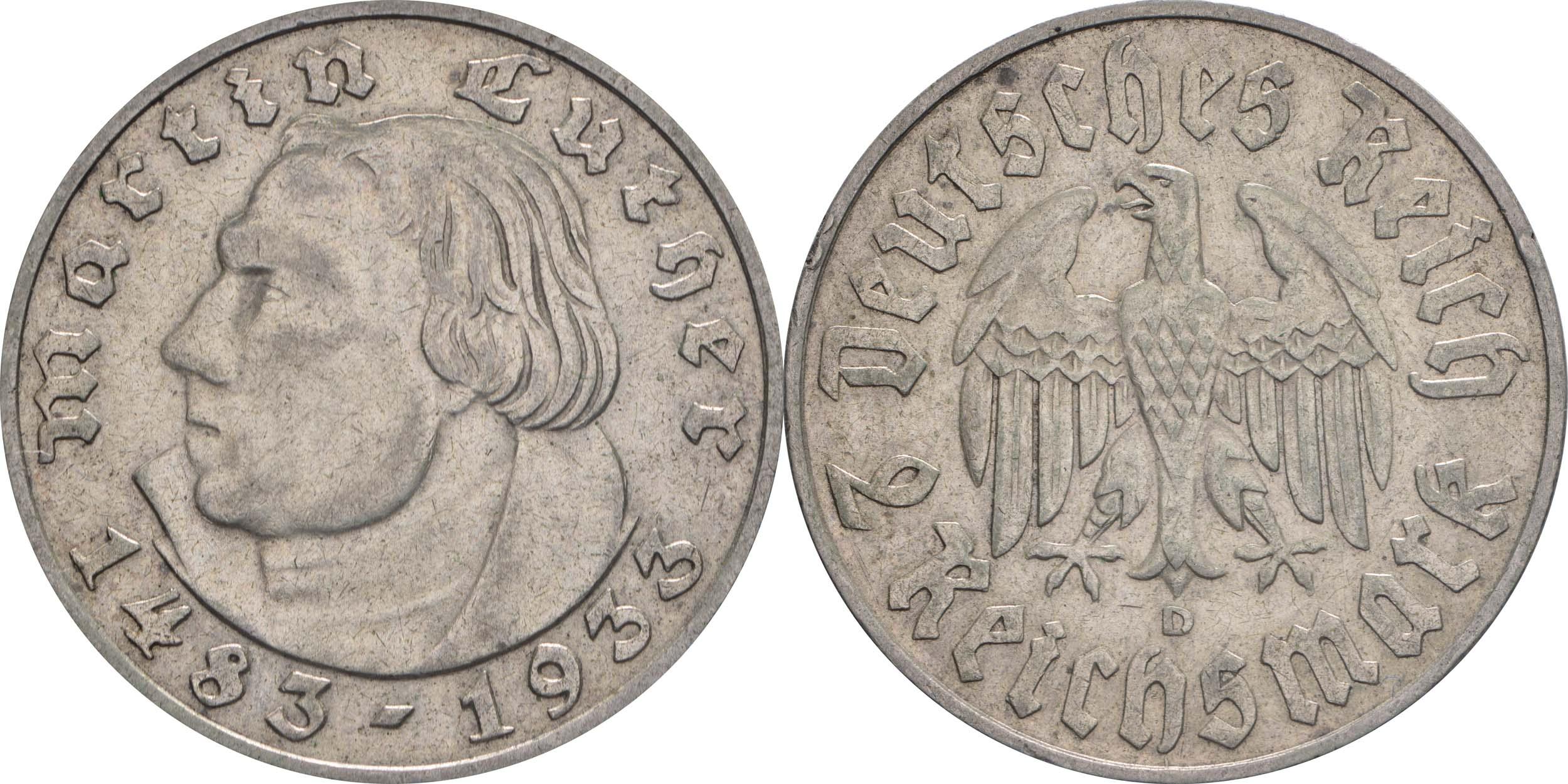 Deutschland : 2 Reichsmark Luther winz. Rs. 1933 ss/vz.